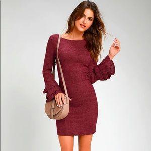 Burgundy Flounce Sleeve Bodycon Sweater Dress